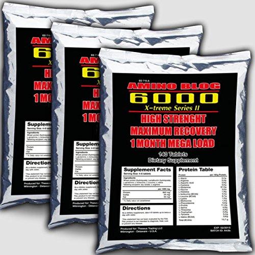 3x Amino Blog 6000 = 420 Tabletten Aminosäuren, Glutamin, BCAA, Arginin - Muskelaufbau, Anabol, Hochdosiert zum Preishammer
