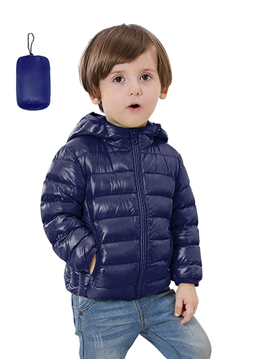 FOURSTEEDS Kids Ultra Light Weight Hooded Sherpa Puffer Coat with Pockets