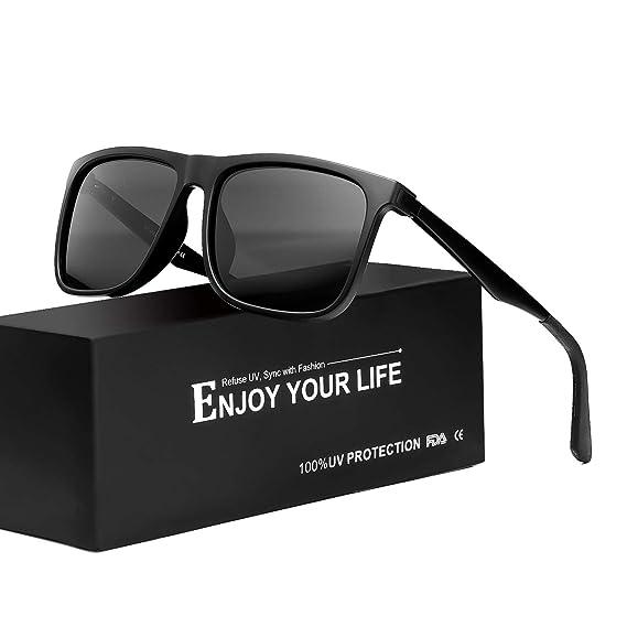 Lunette De Soleil Polarisée Pour Homme Miroir 100% Protection UVA UVB  (Noir Gris 255dea4163b1