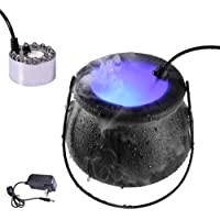 AGWINH Halloween Outdoor Lights, with Witch Cauldron and 12 Color Changing LED Light Mist Maker Fogger Water Fountain…