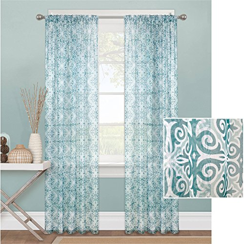 Intricate Scrollwork Motif in classic Colors Sheer Window Curtain Panel, 56
