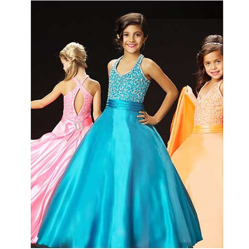Bright Fun Orange Keyhole Back Rhinestone Pageant Dress Little Girls 4