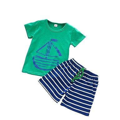 446eb0dd0060 wuayi Summer Toddler Children Boys Cartoon Green Sailboat T Shirt + ...