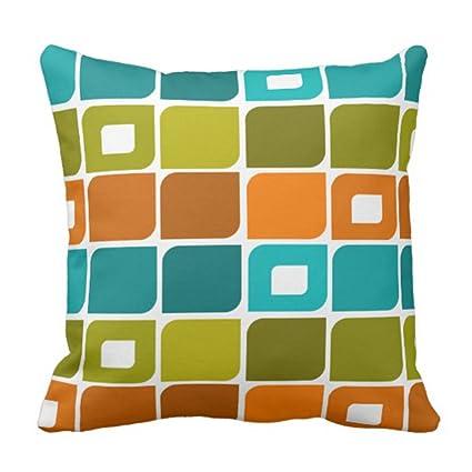 Emvency Throw Pillow Cover Mid Century Modern Geometric Pattern Decorative Case Retro Home Decor Square
