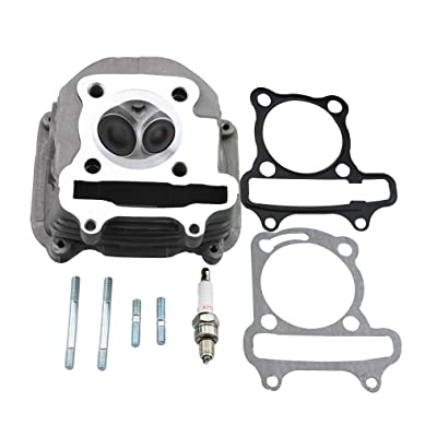 GOOFIT 57.4mm Cylinder Head with Gasket for 4 Stroke GY6 150cc ATV Scooter 157QMJ Engine Part: Automotive