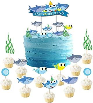 Sensational Shark Birthday Cake Topper Cupcake Toppers Shark Theme Party Funny Birthday Cards Online Fluifree Goldxyz