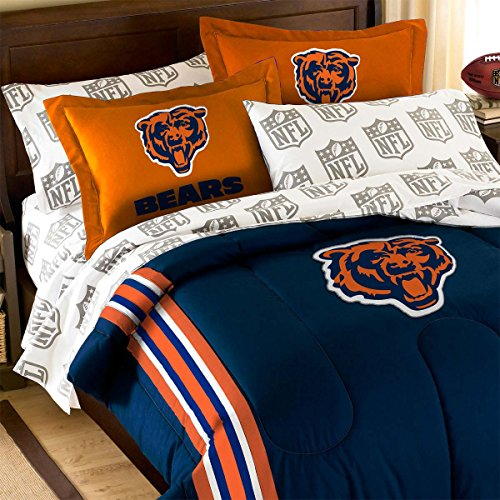 3pc NFL Chicago Bears Twin-Full Comforter Set Football Team Logo Comforter and Orange Pillow - Logo Pillow Team