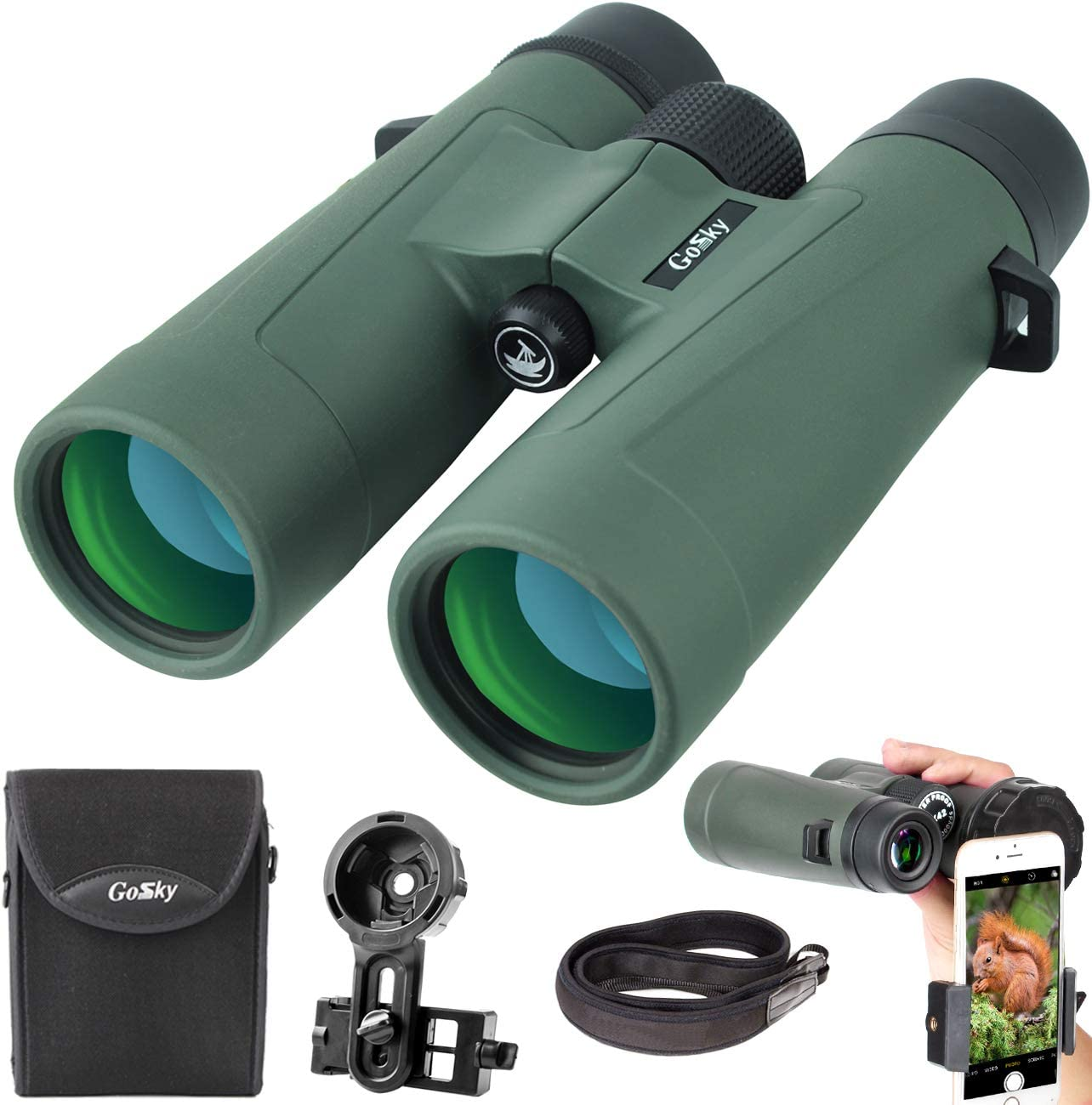 Gosky 10×42 Binoculars for Adults, Ultra HD Professional Binoculars for Bird Watching Travel Stargazing Hunting Concerts Sports-BAK4 Prism FMC Lens-with Phone Mount Strap Carrying Bag