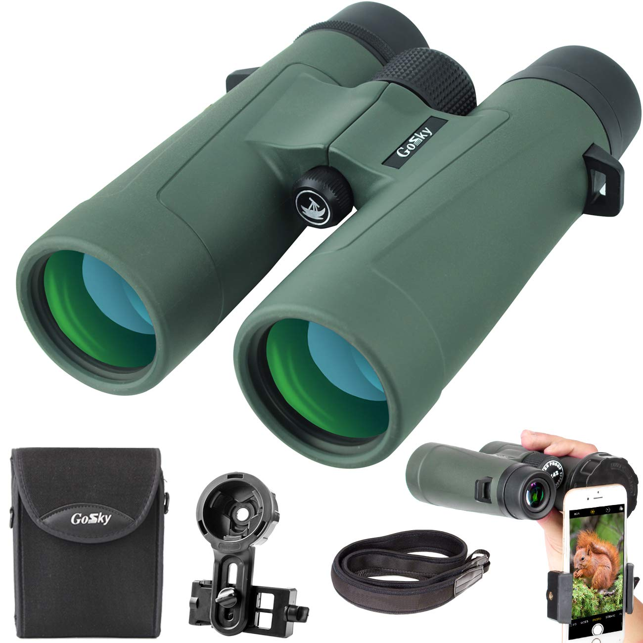 Gosky 8x42 Binoculars for Adults, Ultra HD Professional Binoculars for Bird Watching Travel Stargazing Hunting Concerts Sports-BAK4 Prism FMC Lens-with Phone Mount Strap Carrying Bag by Gosky