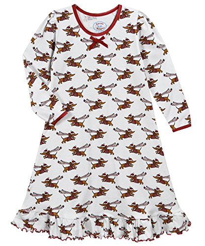 Sara Girls Clothing - Sara's Prints Girls' Little Whirl and Twirl Long Sleeve Nightgown, hot Dog Holiday, 6