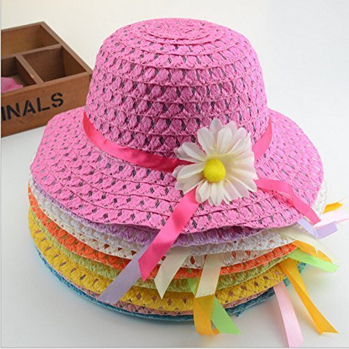 Girls Sunflower Straw Tea Party Hat Set (9 Pcs, Assorted Colors) ()