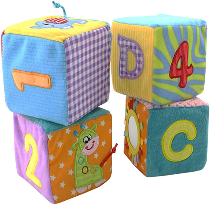 6pcs multifunctional baby cloth building blocks rattle Soft Cubes toy