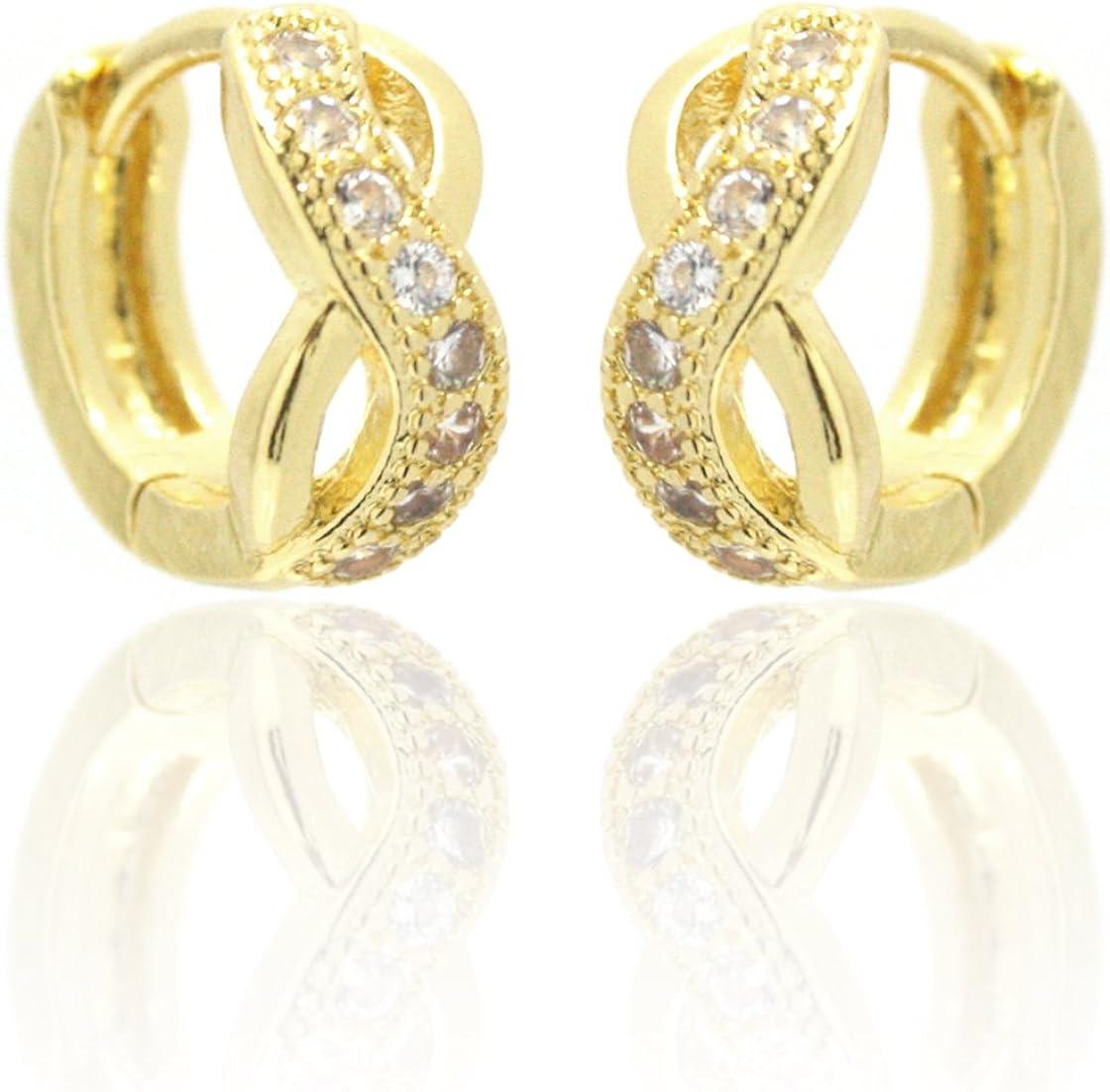 2livefor dorados pendientes infinity lazo 18 K chapado en oro pendientes pendientes de aro pequeño Oro Circonita Pendientes Infinito pequeño Curvado Pendientes de aro retorcido