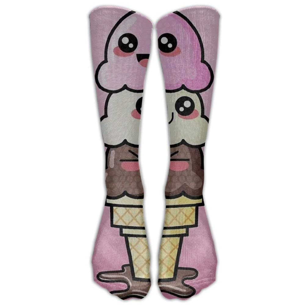 NEW Cute Ice Cream Compression Socks Soccer Socks Knee High Socks For Running,Medical,Athletic,Edema,Diabetic,Varicose Veins,Travel,Pregnancy,Shin Splints,Nursing