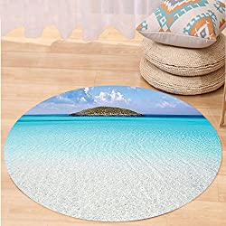 Kisscase Custom carpetOcean Decor Paradise Beach in Caribbean Water with a Small Island Landscape Dream Away Art Print Bedroom Living Room Dorm Decor Cream Turquoise