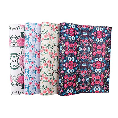 Floral Printed Leather Sheets Fabric Canvas Back 4 Pcs 9
