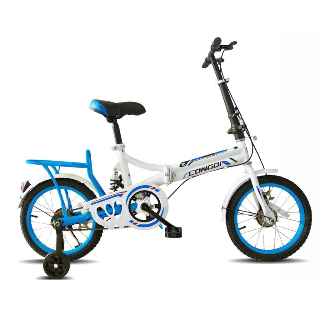 子供の折りたたみ自転車ポータブル16インチの自転車4~7歳の高炭素鋼の子供の自転車、黒と白赤/白青/ピンク白/白緑 (Color : White and blue) B07CZCSW7C