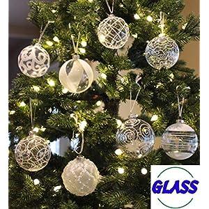 Sleetly White Glass Christmas Ball Oranaments, Set of 6