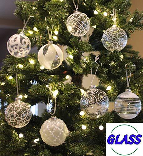 Glass Ornaments Bulk (Sleetly 8pk Assorted Glass Ball Ornaments, White, 3.15)