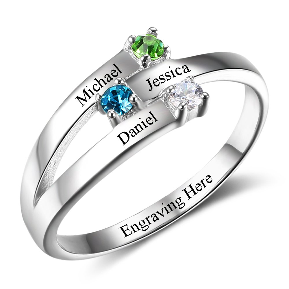 Diamondido Family Personalized Jewelry Engrave Names Mother Rings with Simulated Birthstone for Mommy RI102505