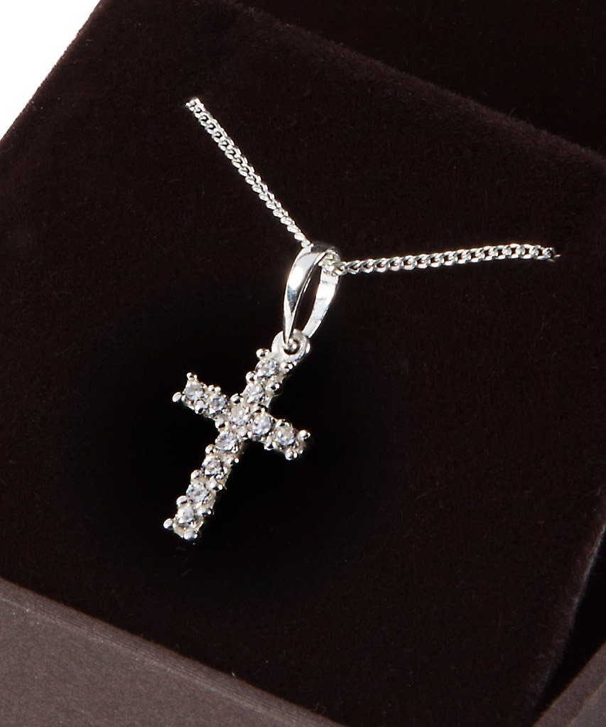 Ideal to celebrate a Birth Sterling Silver and Sparkling zirconium Cross necklace for baby Baptism or Christening.