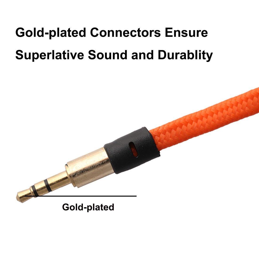 Amazon.com: eDealMax Nylon reproductores de MP3 3.5mm Macho a la cuerda del Cable de extensión Audio Masculino Plana Larga del 1M Naranja: Electronics