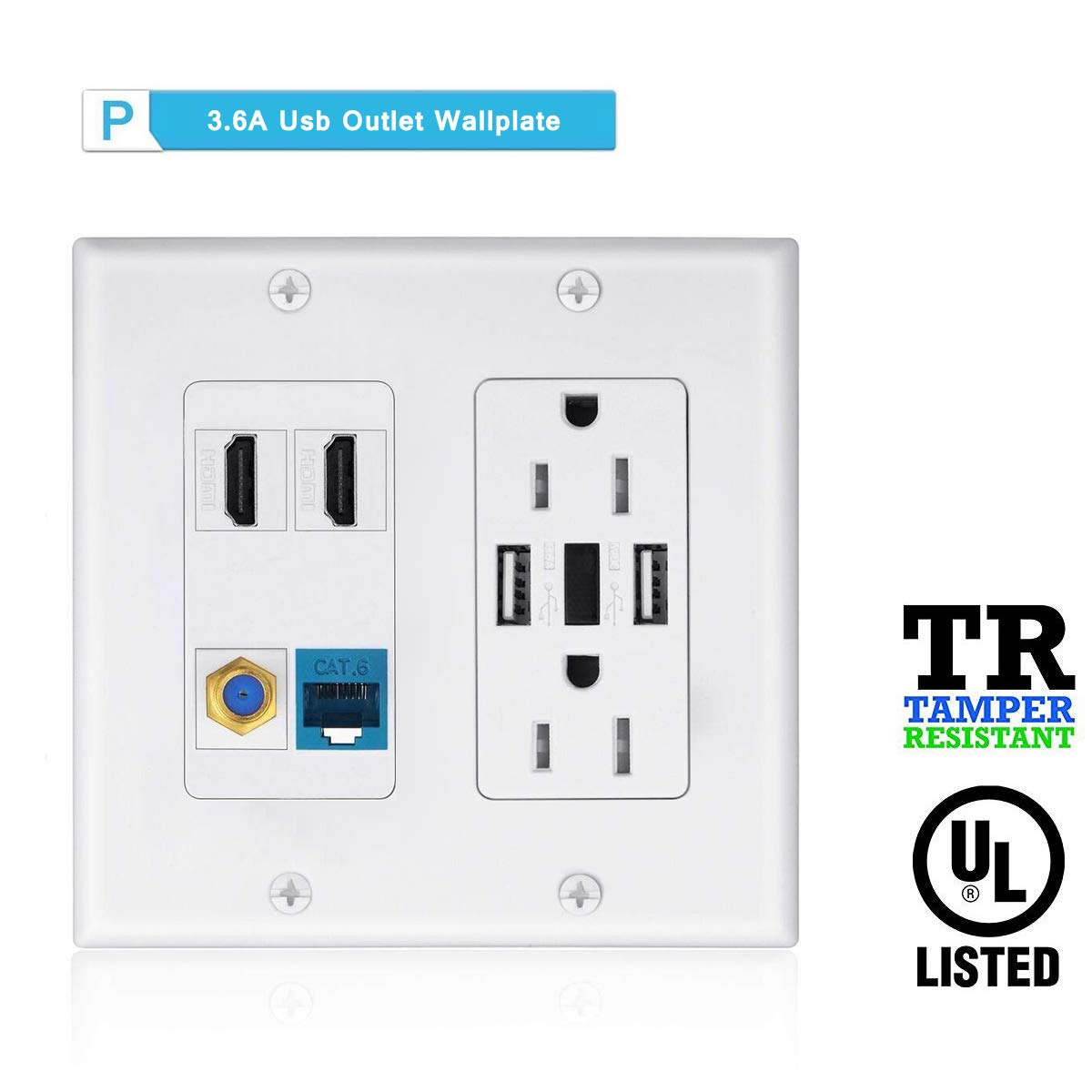 Wallplate Charger Outlet USB,2 Power Outlet 15A with Dual 3.6A USB Charger Port Wall Plate with LED Lighting, 2 HDMI HDTV + 1 CAT6 RJ45 Ethernet + Coaxial Cable TV F Type Keystone Face Plate White