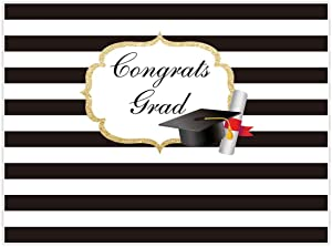 Allenjoy 8x6ft Photography backdrops Graduation Party Class of 2019 Grad Decor Black and White Stripe Banner Photo Studio Booth Background photocall