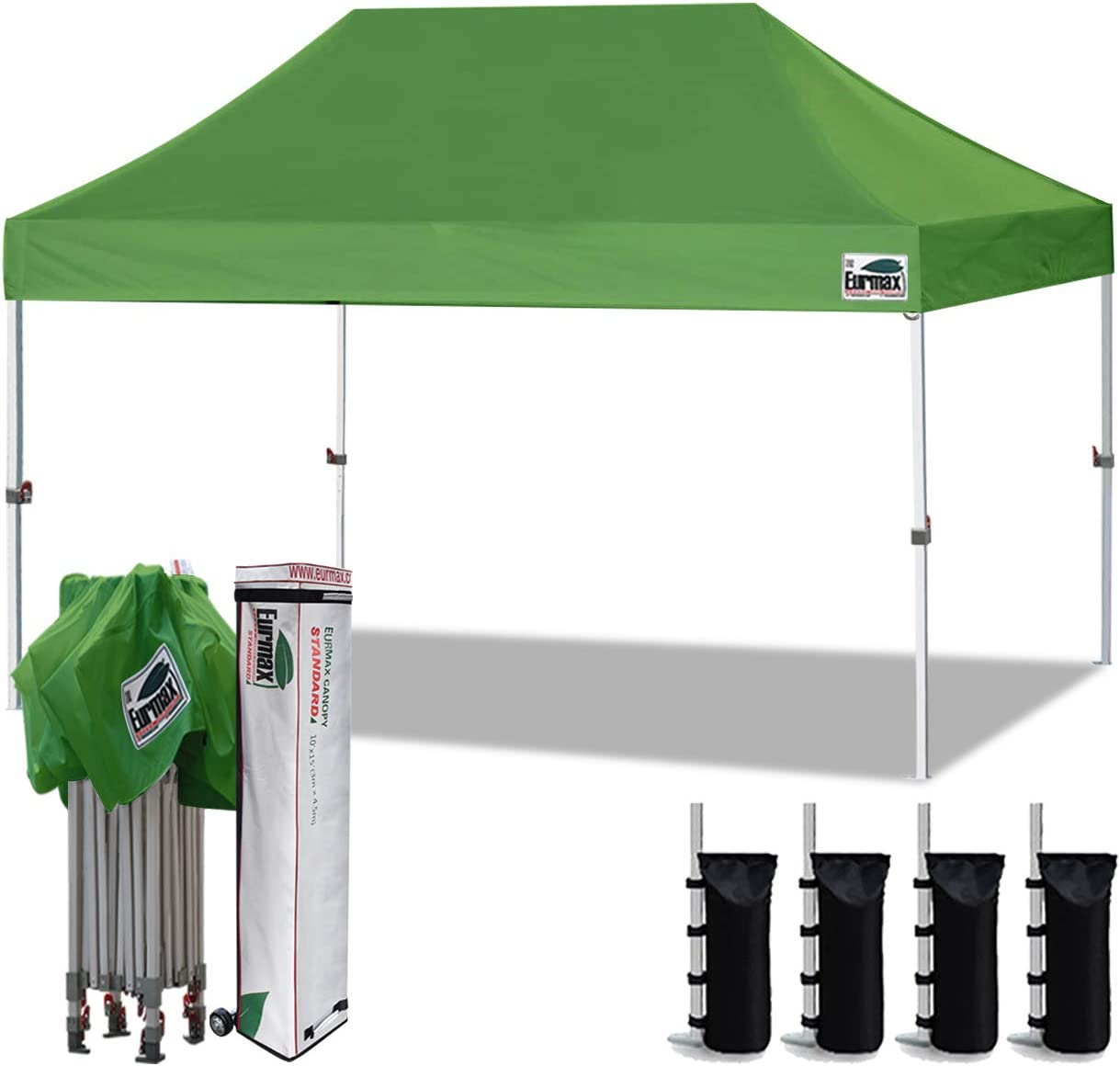 Cocoa Eurmax 10x10 Ez Pop Up Canopy Tent Commercial Instant Canopies with Heavy Duty Roller Bag,Bonus 4 Sand Weights Bags