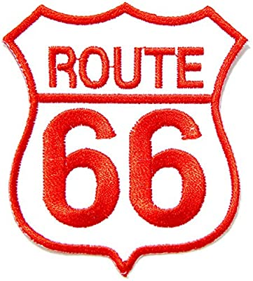 ROUTE 66 Shield Logo Motorcycles Chopper Lady Biker Rider Hippie Punk Rock Tatoo Jacket T-shirt Patch Sew Iron on Embroidered Applique Sign Badge Costume