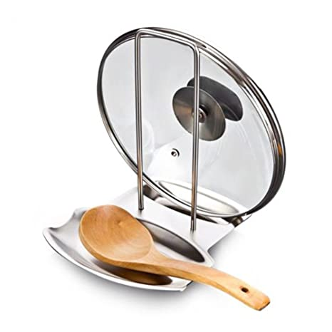 bestomz soporte de tapa de olla de acero inoxidable cuchara ...