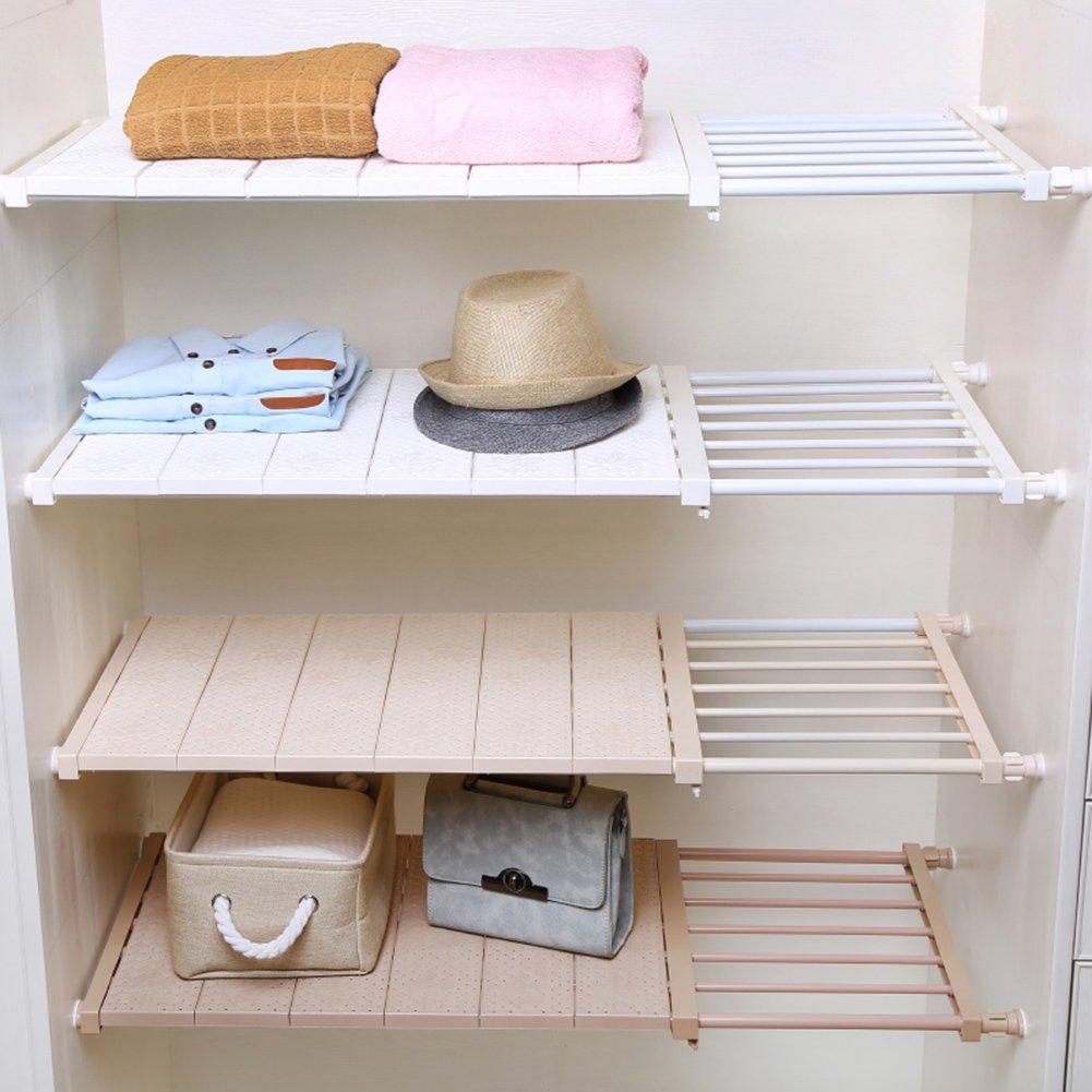 HyFanStr Adjustable Storage Rack Expandable Separator Shelf for Wardrobe Length:28.7-51, Width:11.8, Khaki Length:28.7-51 Width:11.8 Cupboard Bookcase Compartment Collecting Bookcase Compartment Collecting