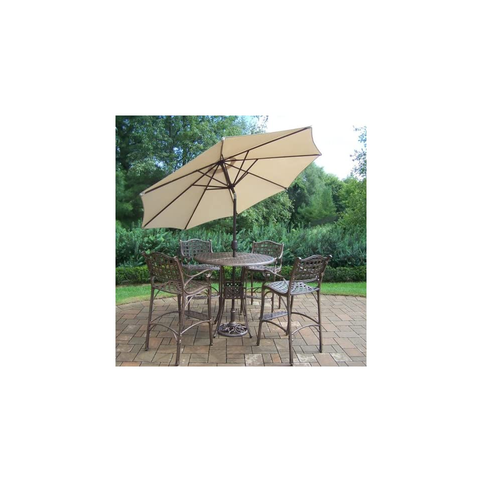 Oakland Living Elite Cast Aluminum 5 Piece Bar Set with 42 Inch Table and 9 Feet Beige Tilting Umbrella and Stand
