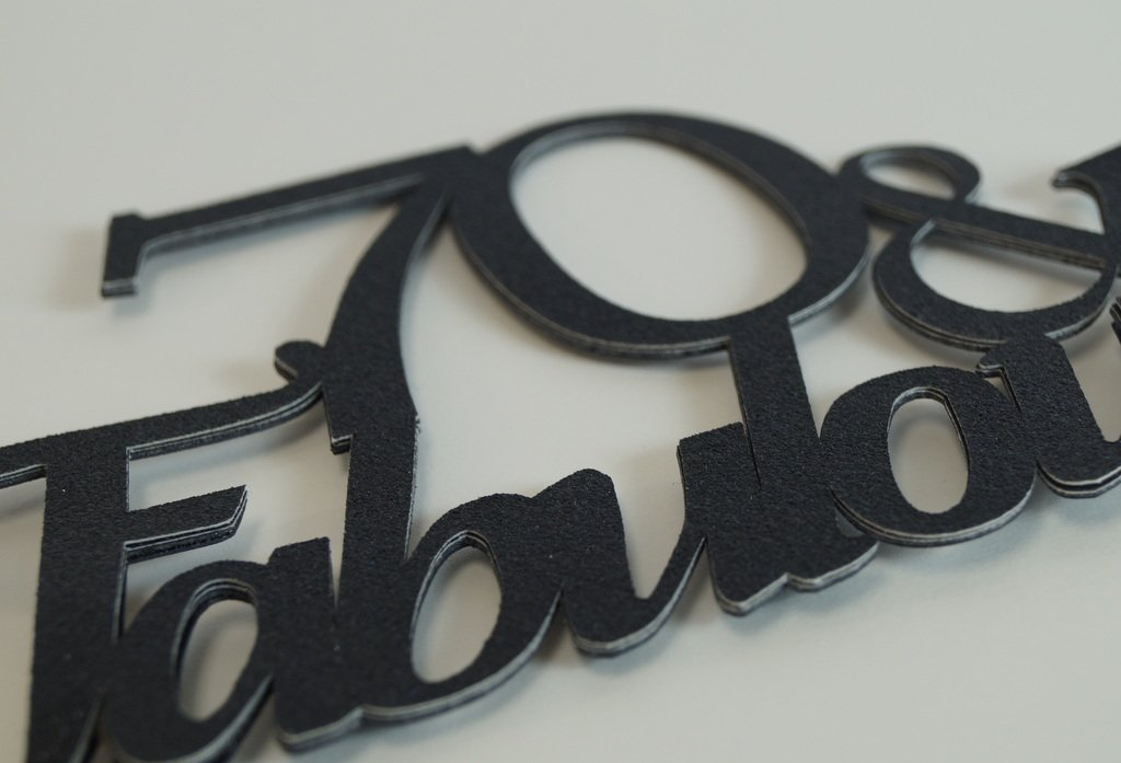 All About Details Black 70-/&-fabulous Cake Topper