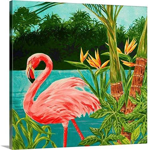 Hot Tropical Flamingo I Canvas Wall Art Print