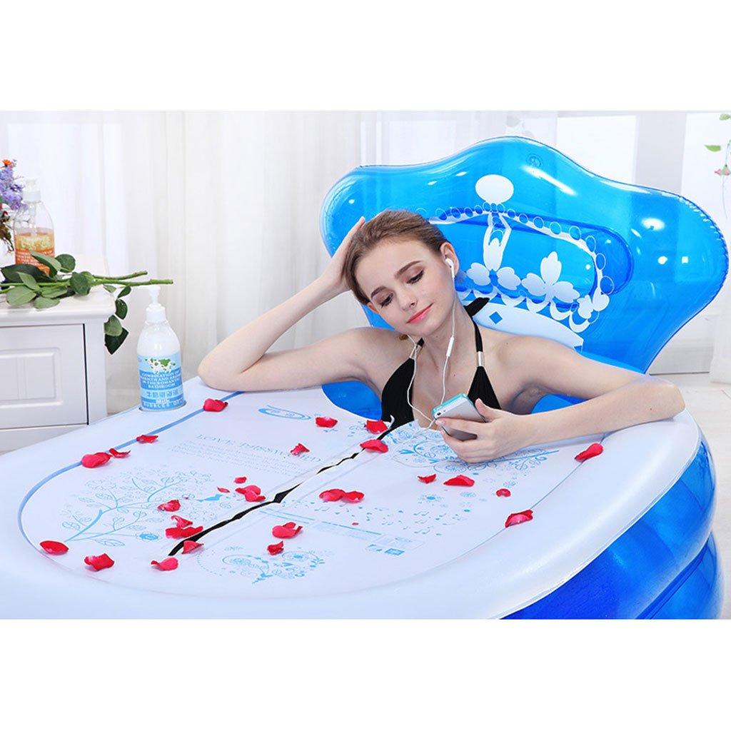 Couleur : Blue, taille : 135*75*70cm KKY-ENTER /Épaissir PVC Pliant Gonflable Baignoire Portable Accueil Spa Baignoire Adulte Enfants Seau De Bain