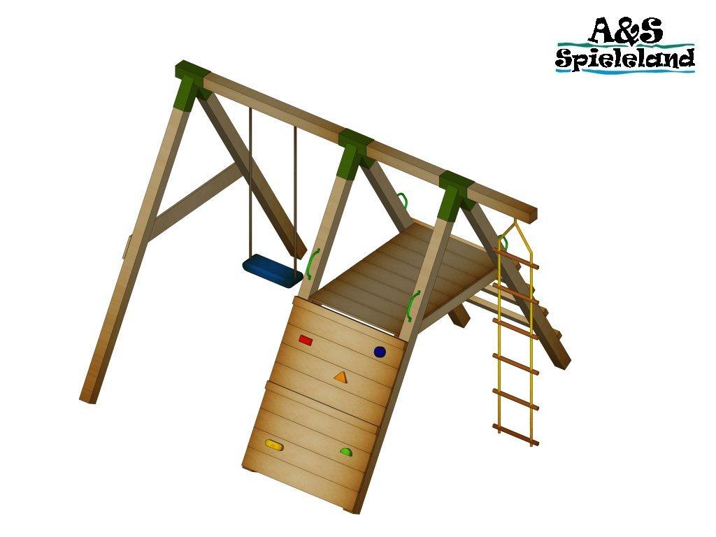 Spielturm JUNIOR 2.0 120cm Set 1 Schaukel Kletterturm Pfosten 9x9cm