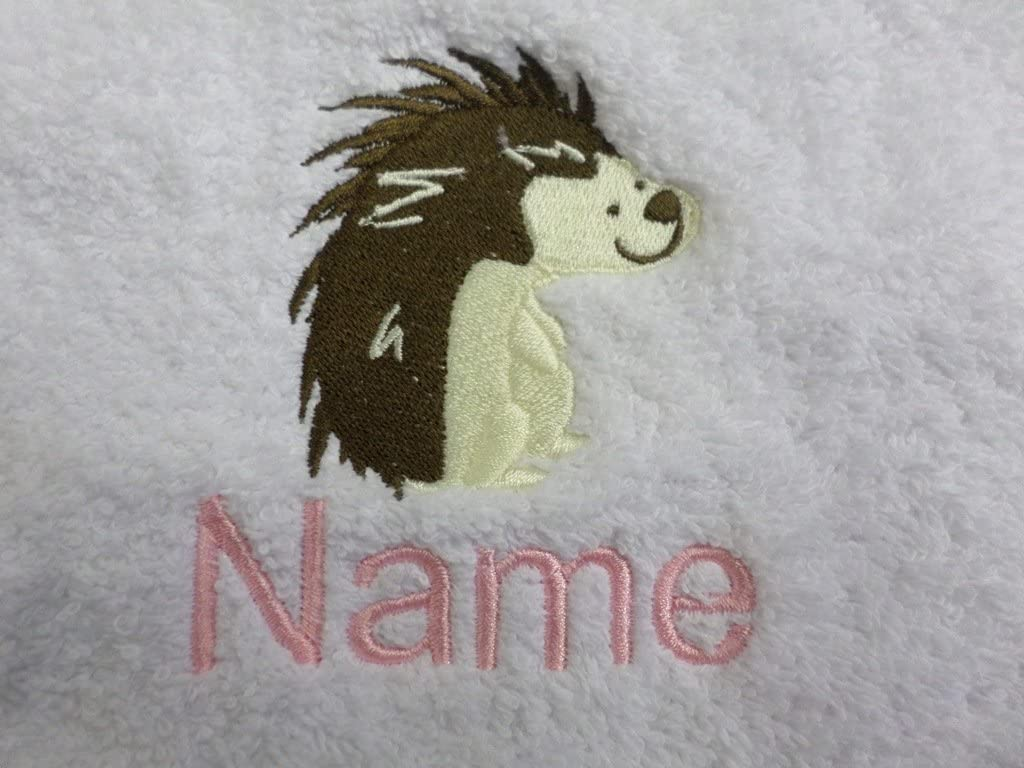 Bath Towel or Bath Sheet Personalised with HEDGEHOG logo and name of your choice Face Cloth 30x30cm EFY Face Cloth Hand Towel