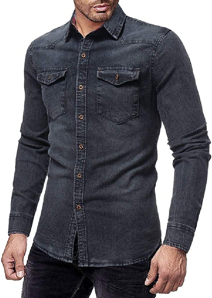 Sayah Mens Button Relaxed Cowboy with Pocket Long Sleeve Slim Collar Shirt