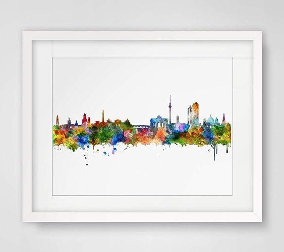 Amazon Com Berlin Skyline City Watercolor Art Print Berlin