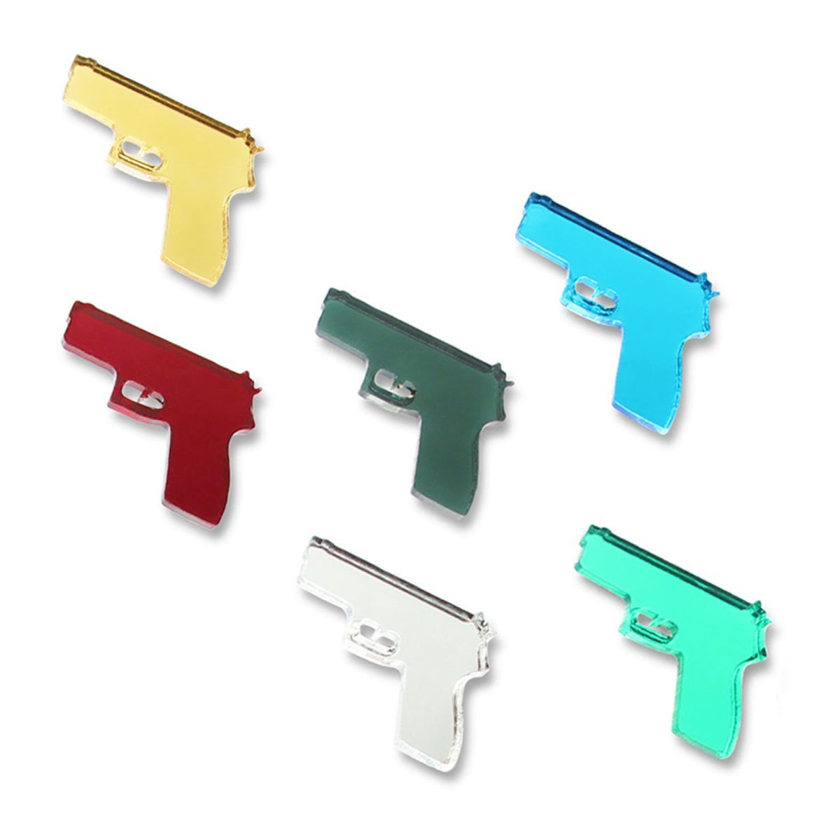 HANDGUNS Magnetic Wine Glass Charms (Set of 6) by Claim Your Glass - Premium Drink Markers for Wine, Champagne, Beer, Cocktail Glasses - Includes Storage Case + Spare Magnet by Claim Your Glass (Image #2)
