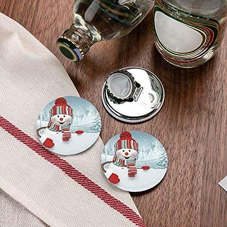 Abridores de botellas redondos de muñeco de nieve travieso / Imanes de nevera Sacacorchos de acero inoxidable Etiqueta magnética 2 piezas