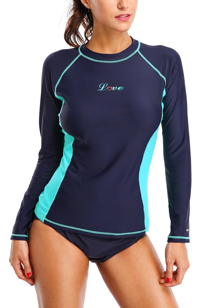 ALove Womens Rash Guard Shirts Long Sleeve UV Swim Shirt Rashguard Top Navy Medium by ALove (Image #1)