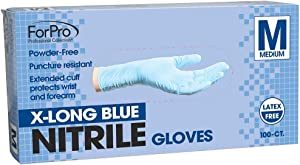 ForPro X-Long Blue Nitrile Gloves, Powder-Free, Latex-Free, Non-Sterile, Food Safe, 7 Mil, Medium, 100-Count
