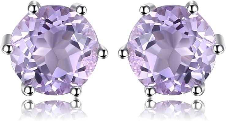 LOT de 3 paires de Boucles D/' Oreilles Ronde CRISTAL MAUVE Lavande ARGENT Neuf