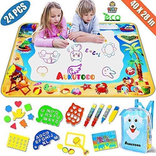 """Large AquaDoodle Mat - Aqua Magic Mat with Kids Backpack - Doodle Board Kids Toys - Mess Free Coloring Painting Educational Toys for Age 1-12 Years Old Girls Boys Toddler Gifts 40""""X28"""""""