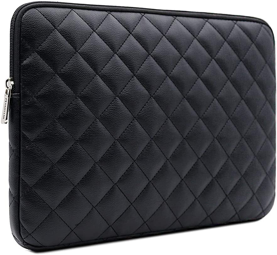 RAINYEAR 15 inch Laptop Sleeve Diamond PU Leather Case Protective Shockproof Water Resistant Zipper Cover Carrying Bag Compatible with 15.4 MacBook Pro/Retina/Touch Bar(Black)