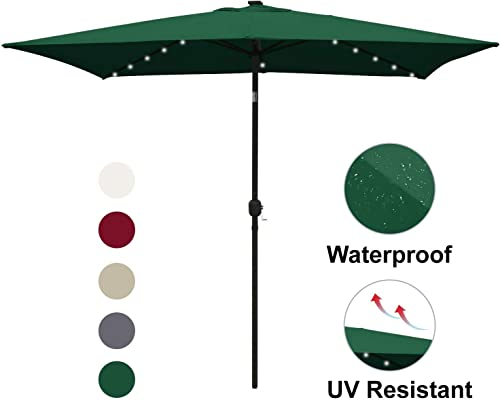 ABCCANOPY Rectangular Patio Umbrella Solar Powered Outdoor Umbrellas Market Table Umbrella with 26 LED Lights, Tilt and Crank for Patio Deck and Pool, 6.6 by 9.8 Ft Forest Green