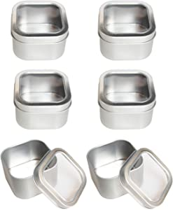 Empty 8-Ounce Capacity Square Silver Metal Tins with Clear Window for Candle Making, Candies, Gifts & Treasures (6 Pack)