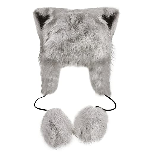 9ff988ee7e2 Amazon.com  Women Ladies Cartoon Cute Animal Full Hood Hats Earflap Skull  Caps Winter Thermal Cozy Furry Fancy Dress Party Halloween Cosplay Costume  ...